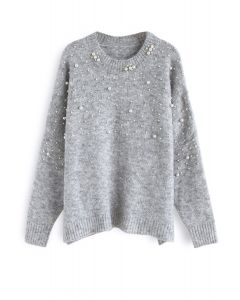 Pearly Perfection Oversize Knit Sweater in Grey
