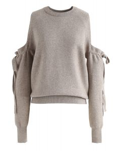 It's Knot Over Cold-Shoulder Knit Sweater in Taupe