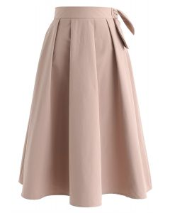 Cover Your Basics Knot Midi Skirt in Coral