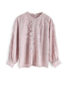 Aroma Once More Embroidered Eyelet Top in Pink