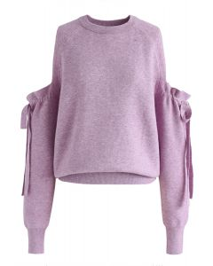 It's Knot Over Cold-Shoulder Knit Sweater in Purple