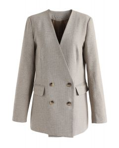 Surprise Me Double-Breasted Gingham Blazer in Light Tan