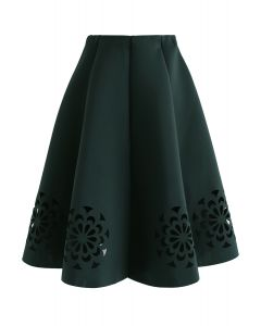 Flowery Cutout Airy Midi Skirt in Army Green