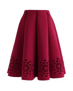 Flowery Cutout Airy Midi Skirt in Red