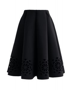 Flowery Cutout Airy Midi Skirt in Black