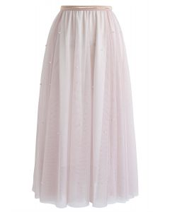 Scattered Pearls Gradient Mesh Tulle Skirt in Pink