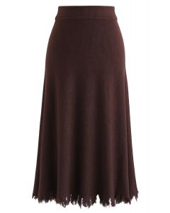 Love Yourself Ribbed Knit Skirt in Brown