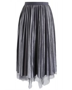 Mix and Match Velvet Mesh Pleated Skirt in Grey