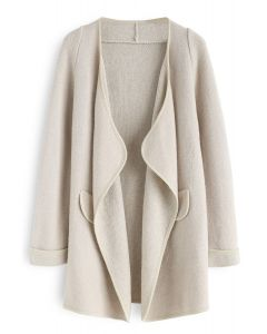 Just Knitted Open Coat in Linen