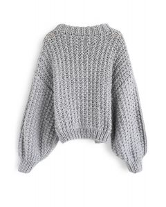 Chunky Chunky Puff Sleeves Cropped Sweater in Grey