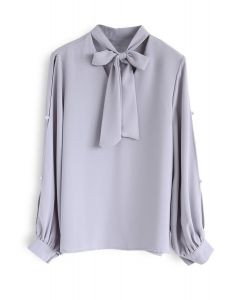 Base on Pearls Bowknot Chiffon Top in Lavender
