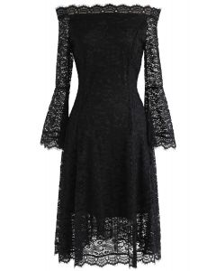 Remember Me Off-Shoulder Lace Dress in Black