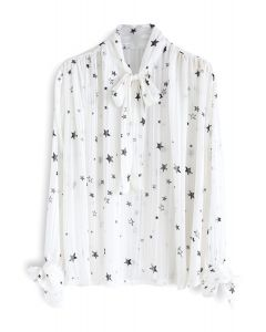 Your Sassy Star Bowknot Semi-Sheer Top in White