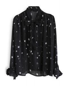 Your Sassy Star Bowknot Semi-Sheer Top in Black