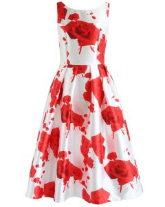Dreaming of Roses Printed Prom Dress