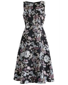 Part of Me Sleeveless Floral Embroidered Jacquard Dress