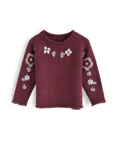 Add More Flowers Embroidered Sweater in Wine For Kids