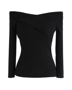 Cross On Love Knit Top in Black