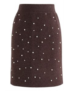 Eternal Pearls Knit Skirt in Brown