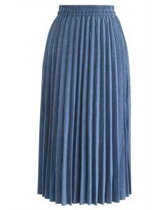 Back to 90's Pleated Denim Midi Skirt