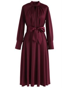 Grab the Spotlight Bowknot Satin Dress in Wine