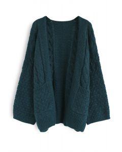 Back in Time Knit Cardigan in Dark Green