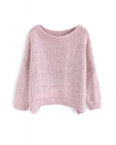 The Other Side of Chunky Hand Knit Sweater in Pink