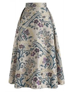 Vintage Bouquet Embroidered Midi Skirt