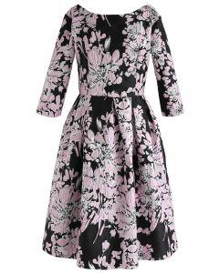 The Brightest Flowers Embossed Midi Dress