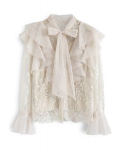 Floral and Ruffle Bowknot Lace Top in Cream