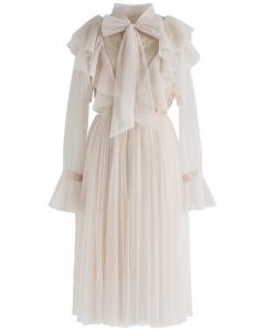 Floral and Ruffle Bowknot Tulle Dress in Cream