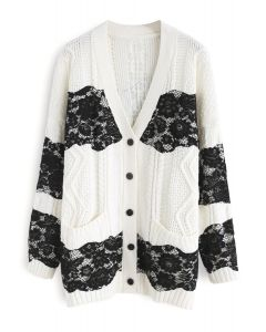 Even More Lace Cable Knit Longline Cardigan