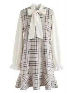 Kind of Miracle Houndstooth Bowknot Dress in Brown