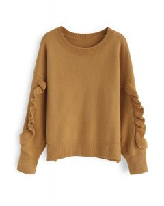 Ruffle Charm Knit Sweater in Camel