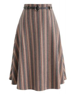 You Thought Right Stripes A-Line Midi Skirt
