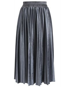 Inviting Sheen Velvet Pleated Skirt in Dusty Blue