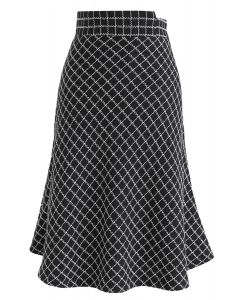 Diamond Night Textured Frilling Skirt in Black