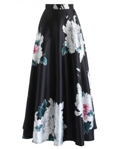 Peonies Brilliance Printed A-Lined Maxi Skirt