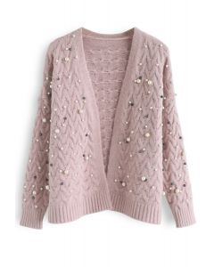 Looking at the Shining Pearls Knit Cardigan in Pink