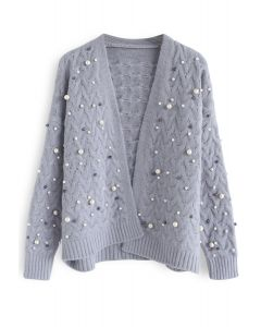Looking at the Shining Pearls Knit Cardigan in Lavender