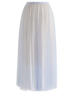 Tell You Why Pleated Mesh Skirt in Blue