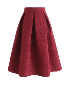 Glitz and Glam Embossed Midi Skirt in Wine
