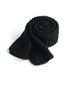 Keeping You Warm Hand Knit Scarf in Black