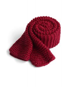 Keeping You Warm Hand Knit Scarf in Wine