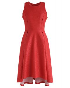 Glitz and Glam Embossed Waterfall Dress in Red