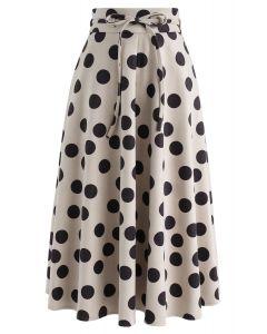What I Call Fun Dotted Midi Skirt in Light Tan