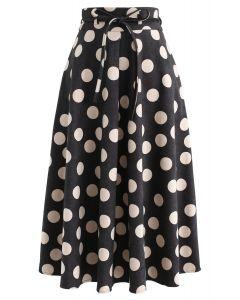What I Call Fun Dotted Midi Skirt in Black