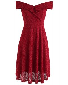 The Way You Are Off-Shoulder Lace Dress in Red