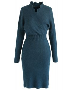 Cafe Time Wavy Wrap Knit Dress in Teal