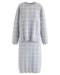 Grid Manners Knit Sweater and Midi Skirt Set in Grey